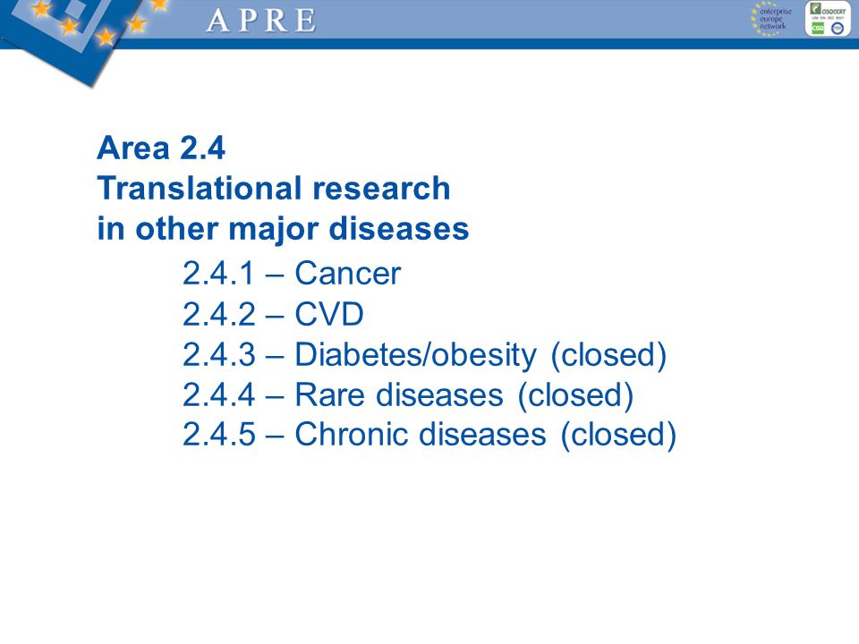 2.4.1 – Cancer Area 2.4 Translational research in other major diseases