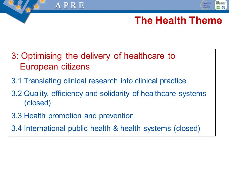 The Health Theme 3: Optimising the delivery of healthcare to European citizens. 3.1 Translating clinical research into clinical practice.