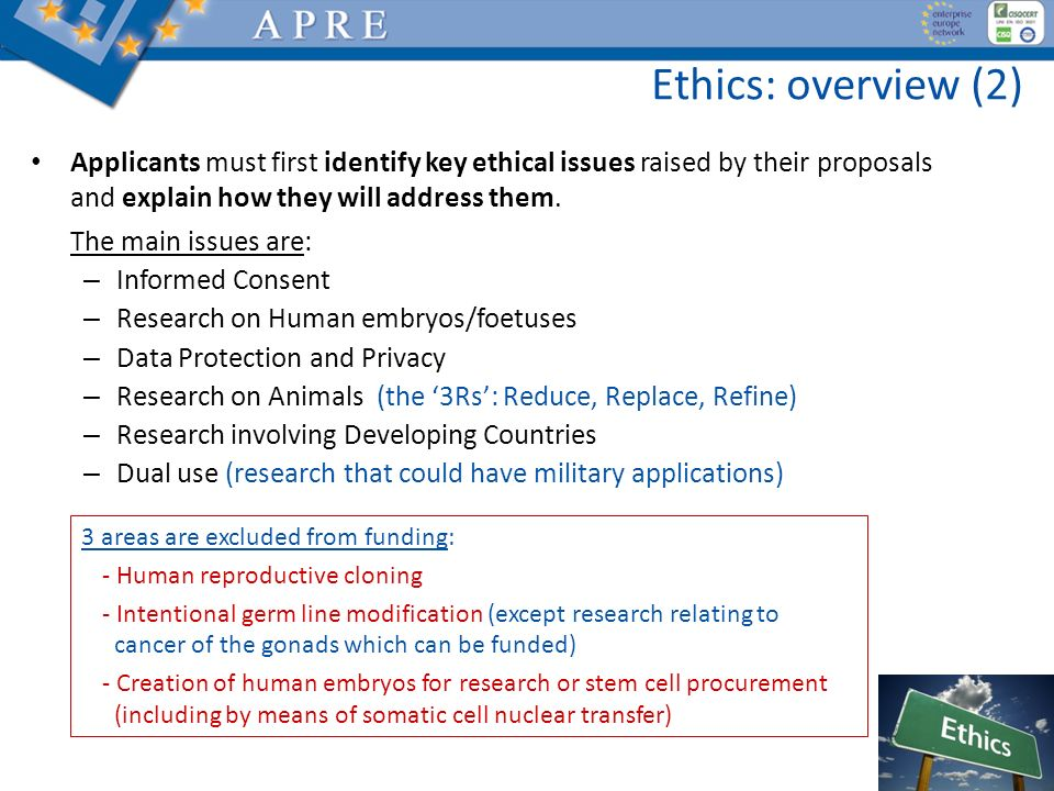 Ethics: overview (2) Applicants must first identify key ethical issues raised by their proposals and explain how they will address them.