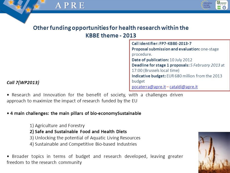 Other funding opportunities for health research within the