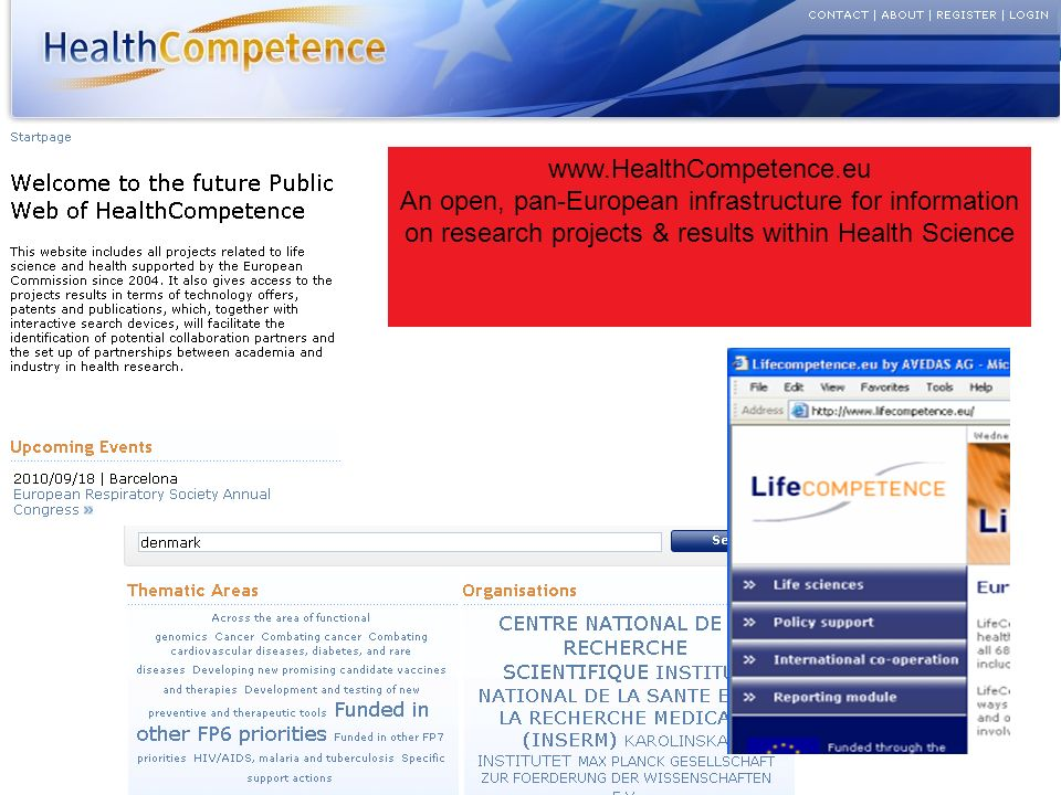 www.HealthCompetence.eu An open, pan-European infrastructure for information on research projects & results within Health Science