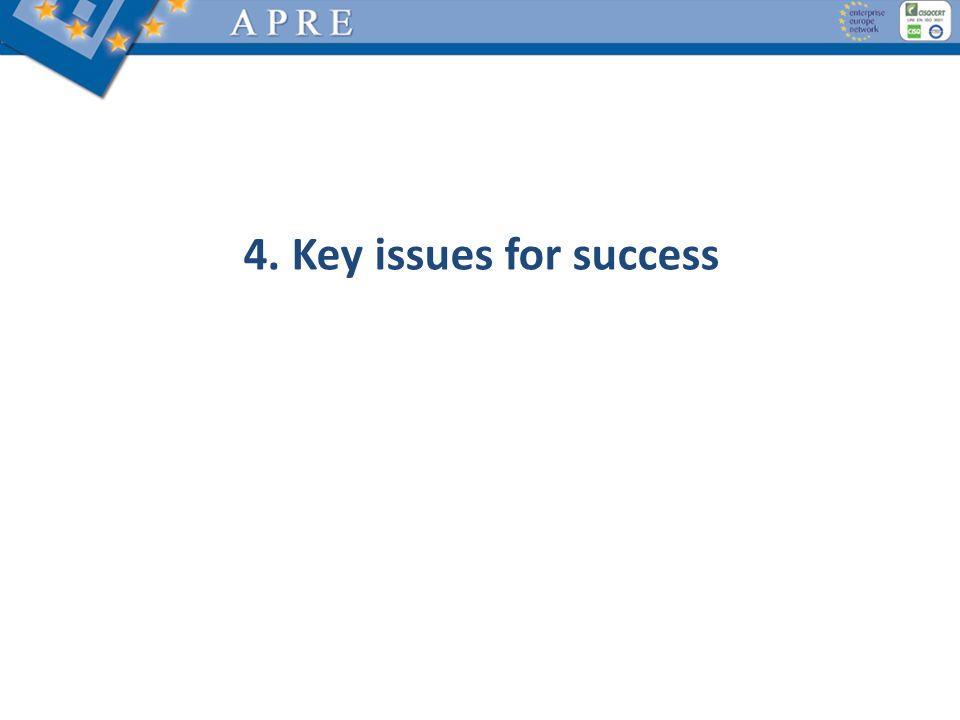 4. Key issues for success