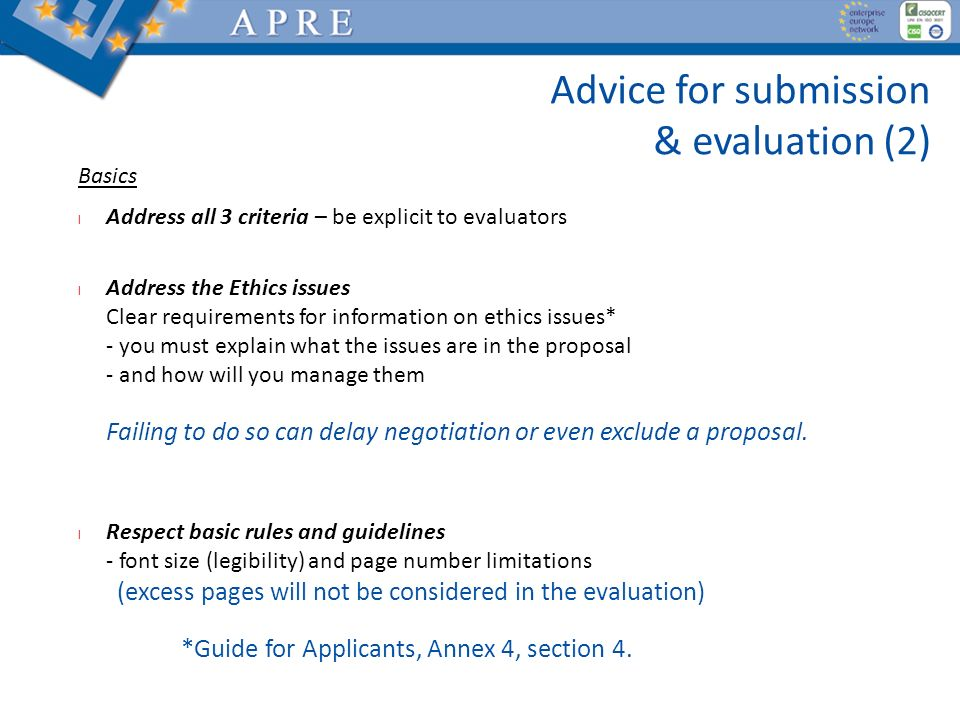 Advice for submission & evaluation (2)