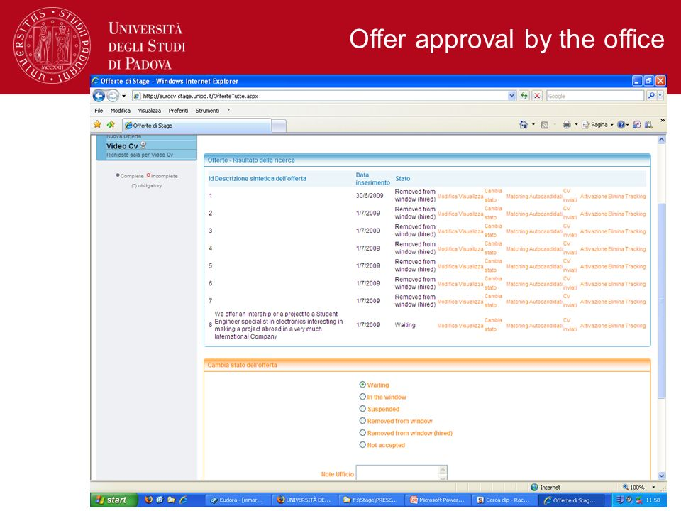 Offer approval by the office