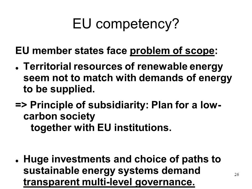 EU competency EU member states face problem of scope: