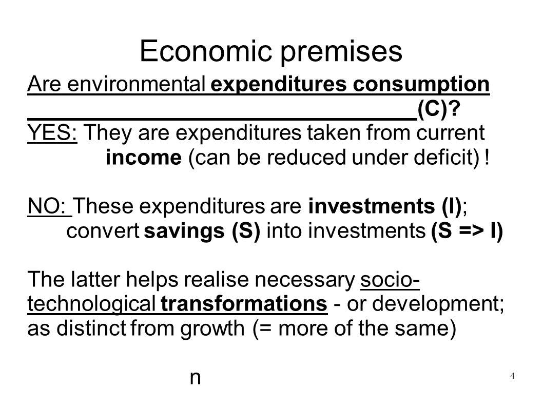 Economic premises Are environmental expenditures consumption (C)