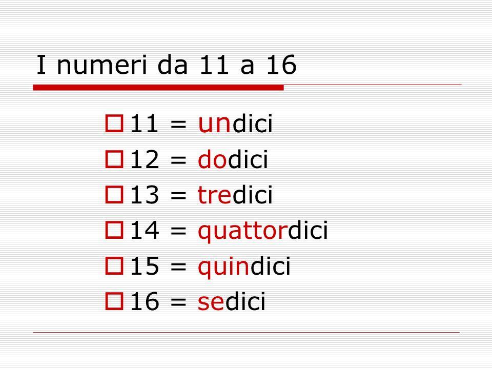 I numeri da 11 a 16 11 = undici 12 = dodici 13 = tredici