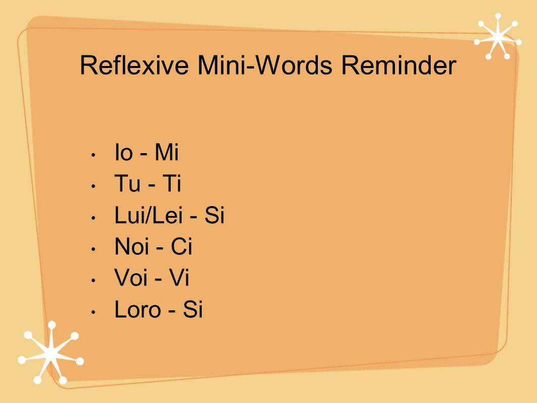 Reflexive Mini-Words Reminder