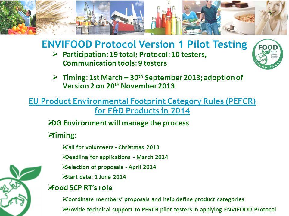 ENVIFOOD Protocol Version 1 Pilot Testing