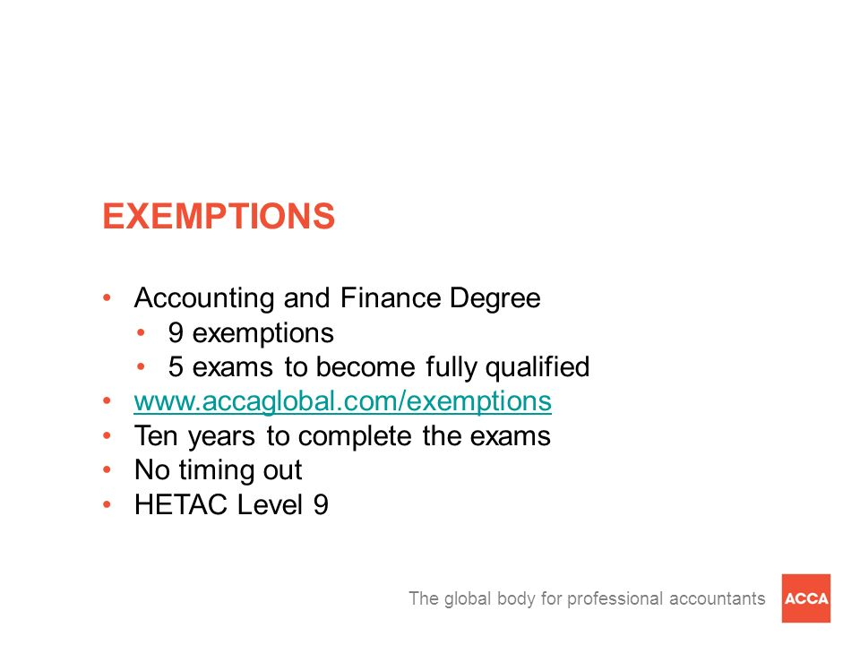 EXEMPTIONS Accounting and Finance Degree 9 exemptions