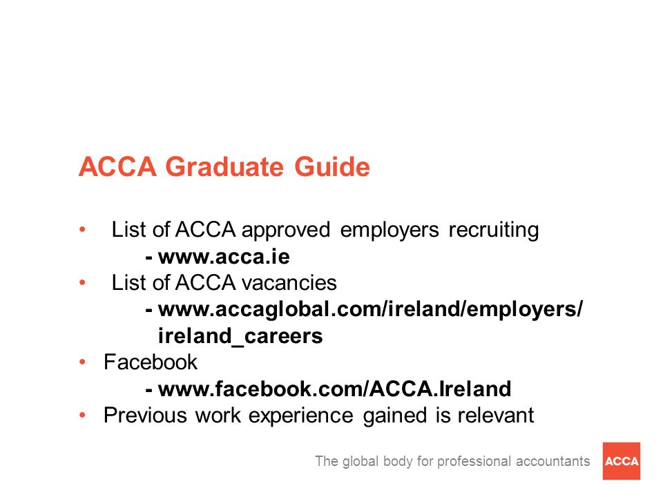 ACCA Graduate Guide List of ACCA approved employers recruiting