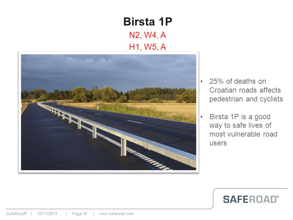 Birsta 1PN2, W4, A. H1, W5, A. 25% of deaths on Croatian roads affects pedestrian and cyclists.
