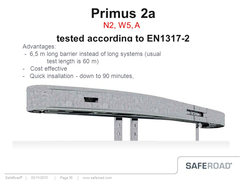 Primus 2a tested according to EN1317-2