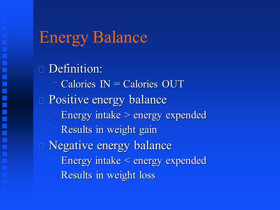 energy balance  body composition and weight management