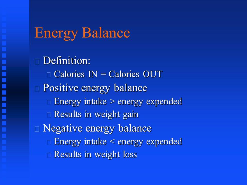 Energy Balance Definition: Positive energy balance