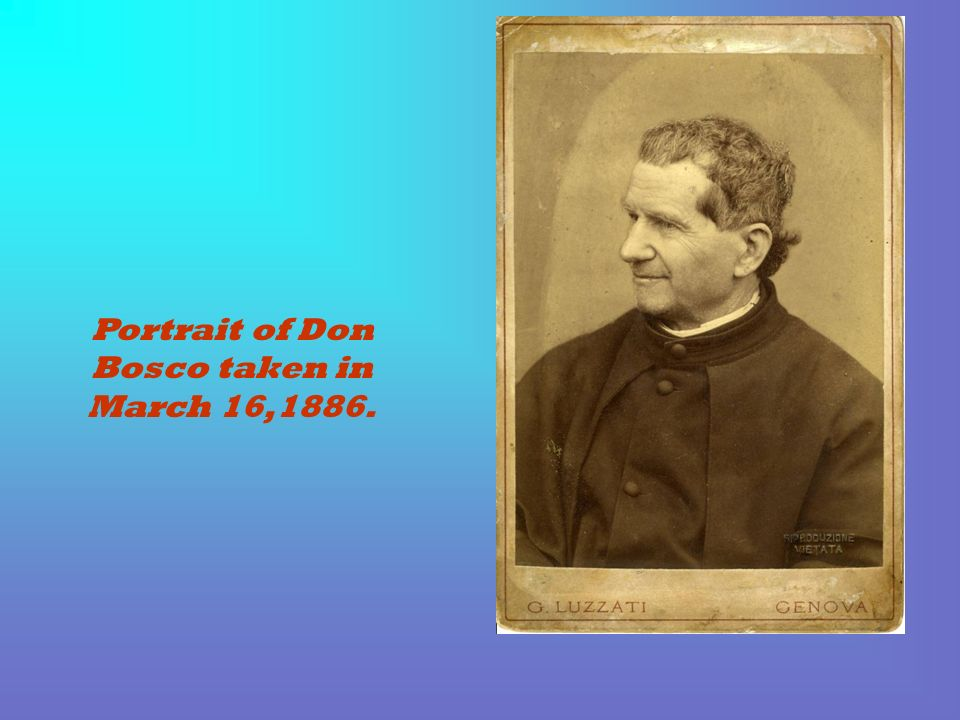 Portrait of Don Bosco taken in March 16,1886.