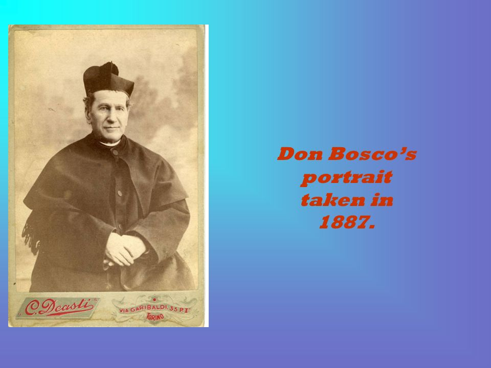 Don Bosco's portrait taken in 1887.