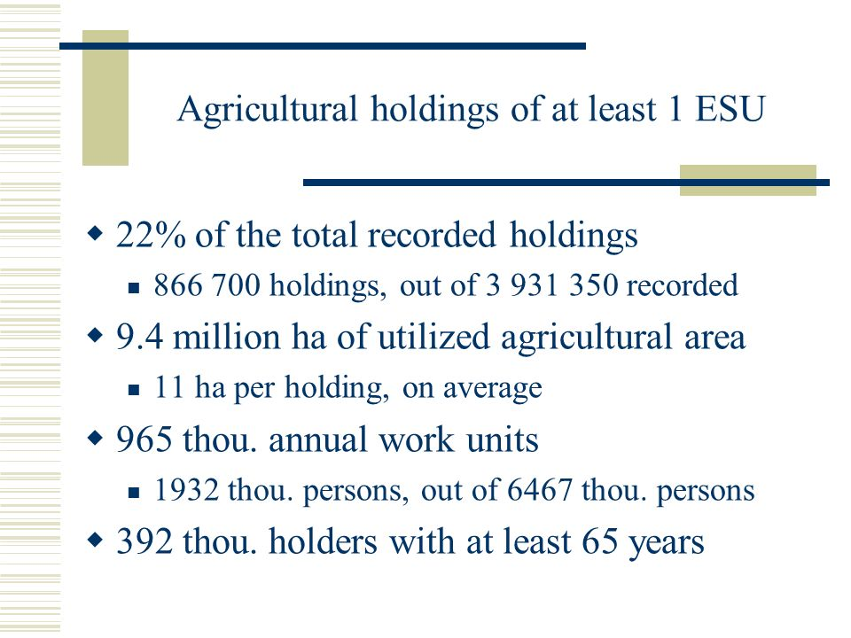 Agricultural holdings of at least 1 ESU