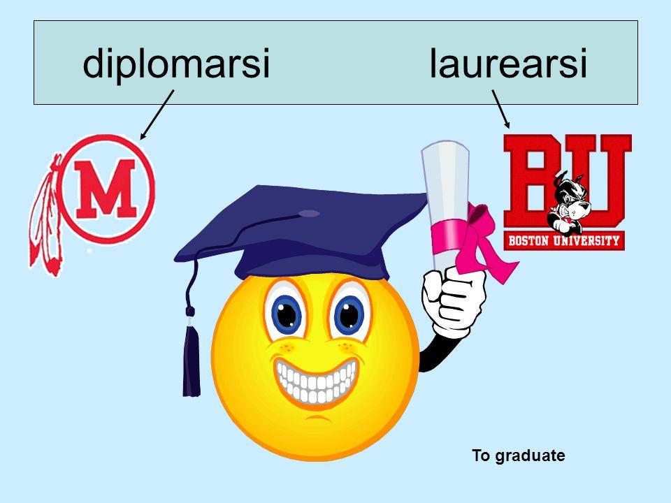 diplomarsi laurearsi To graduate