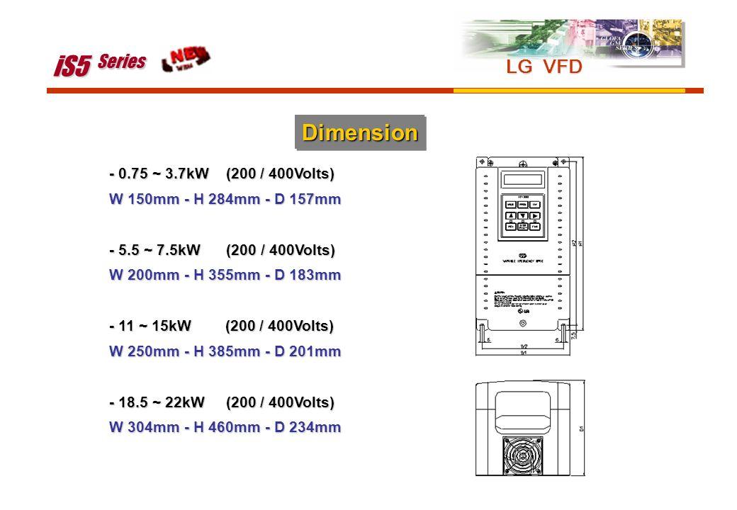 iS5 Series Dimension LG VFD - 0.75 ~ 3.7kW (200 / 400Volts)