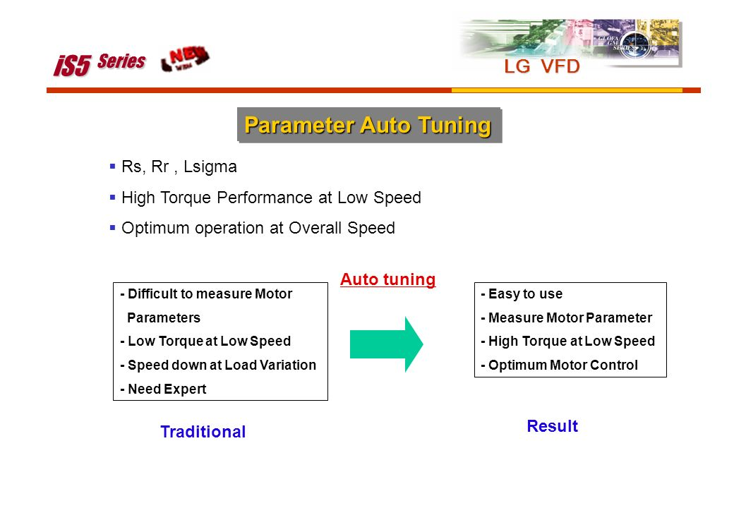 iS5 Series Parameter Auto Tuning LG VFD Rs, Rr , Lsigma