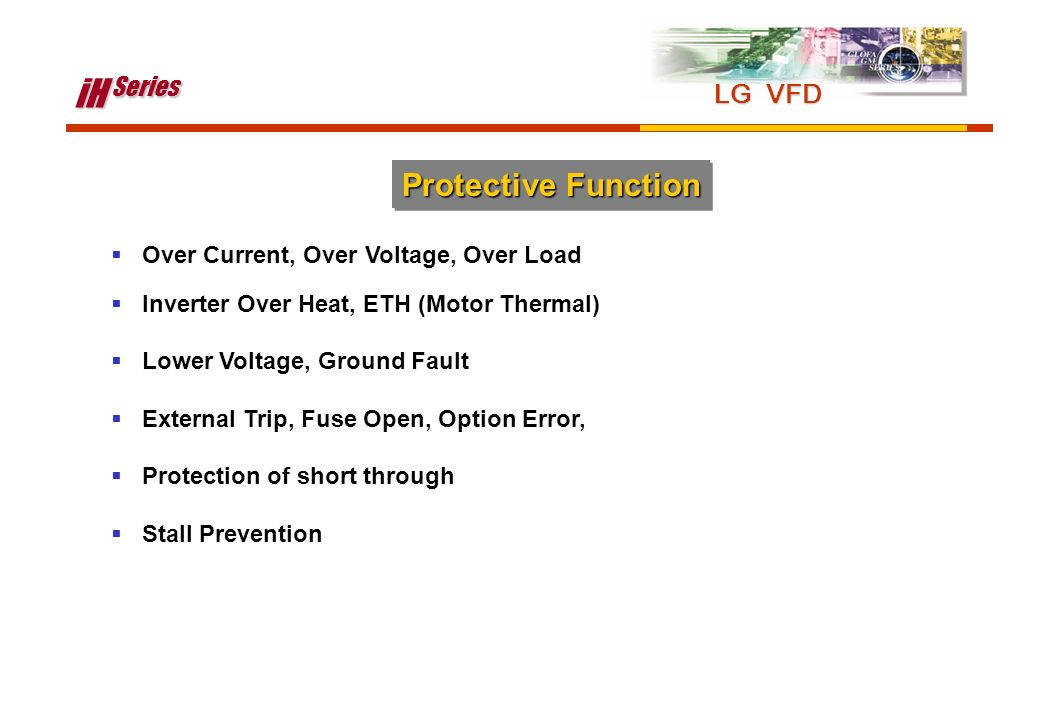 iH Series Protective Function LG VFD