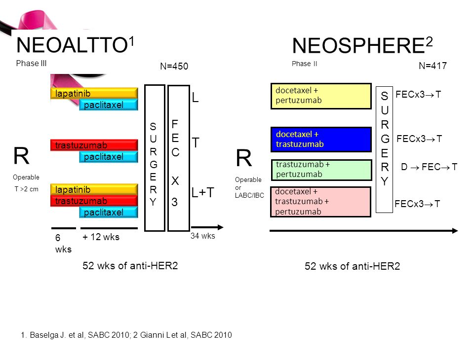 R R NEOALTTO1 NEOSPHERE2 L T L+T Phase III SURGERY FEC X 3 Phase II S
