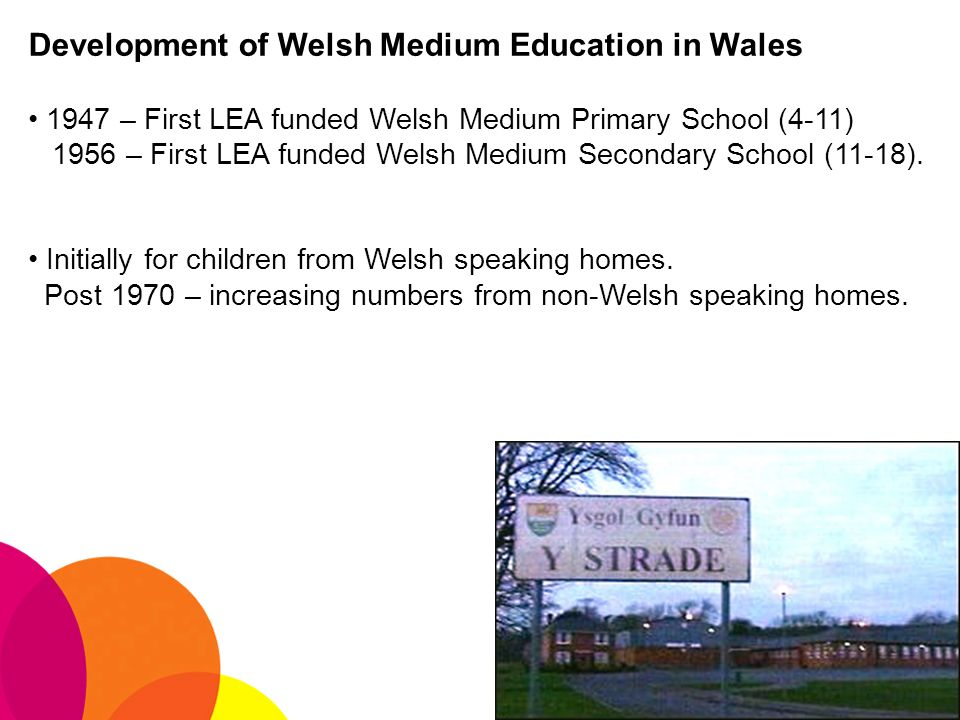 Development of Welsh Medium Education in Wales