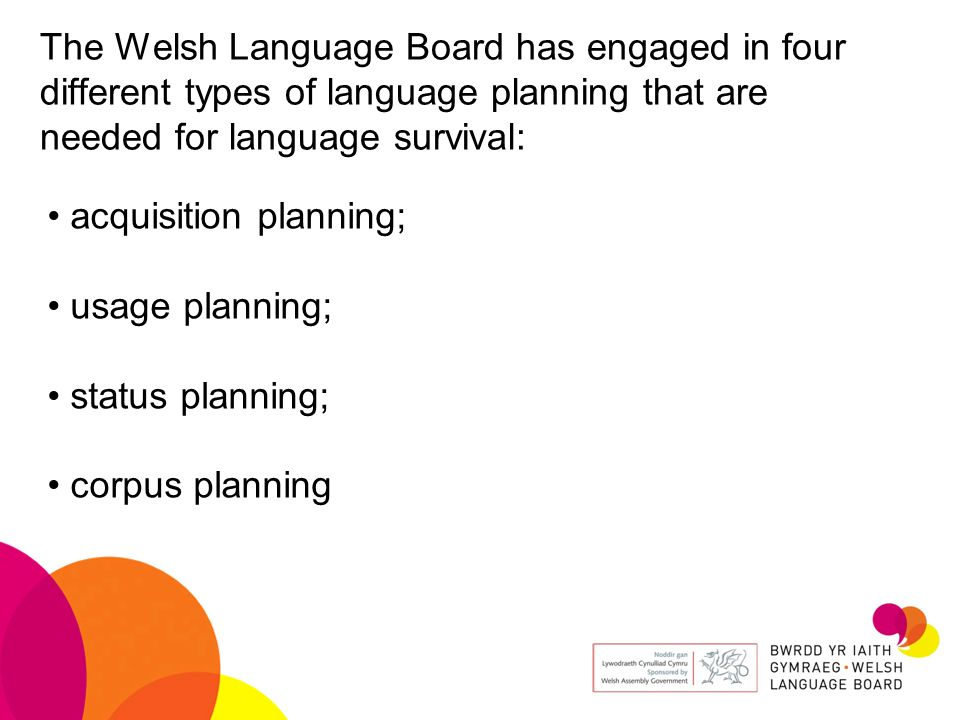 The Welsh Language Board has engaged in four different types of language planning that are needed for language survival: