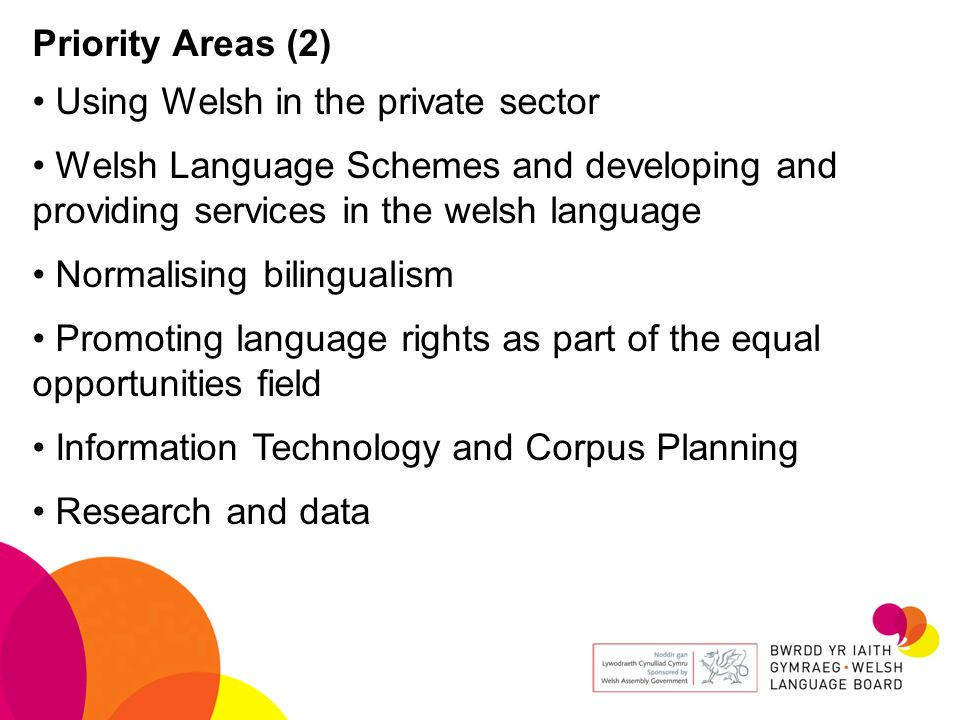Priority Areas (2) Using Welsh in the private sector. Welsh Language Schemes and developing and providing services in the welsh language.