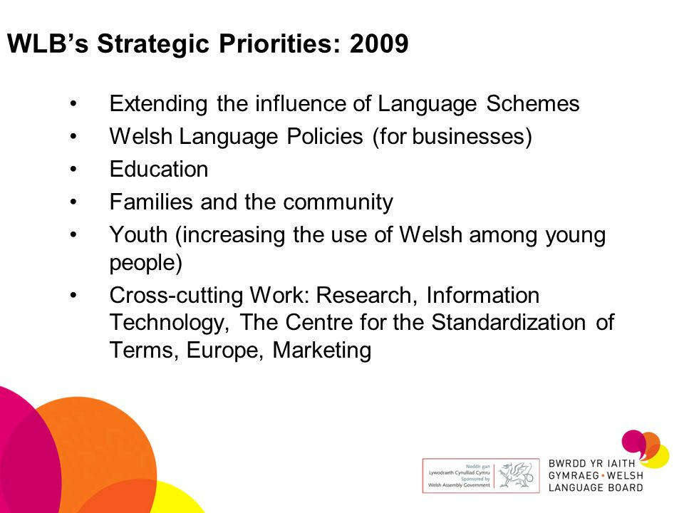 WLB's Strategic Priorities: 2009