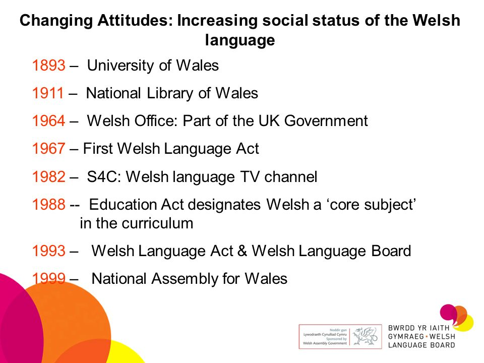 Changing Attitudes: Increasing social status of the Welsh language