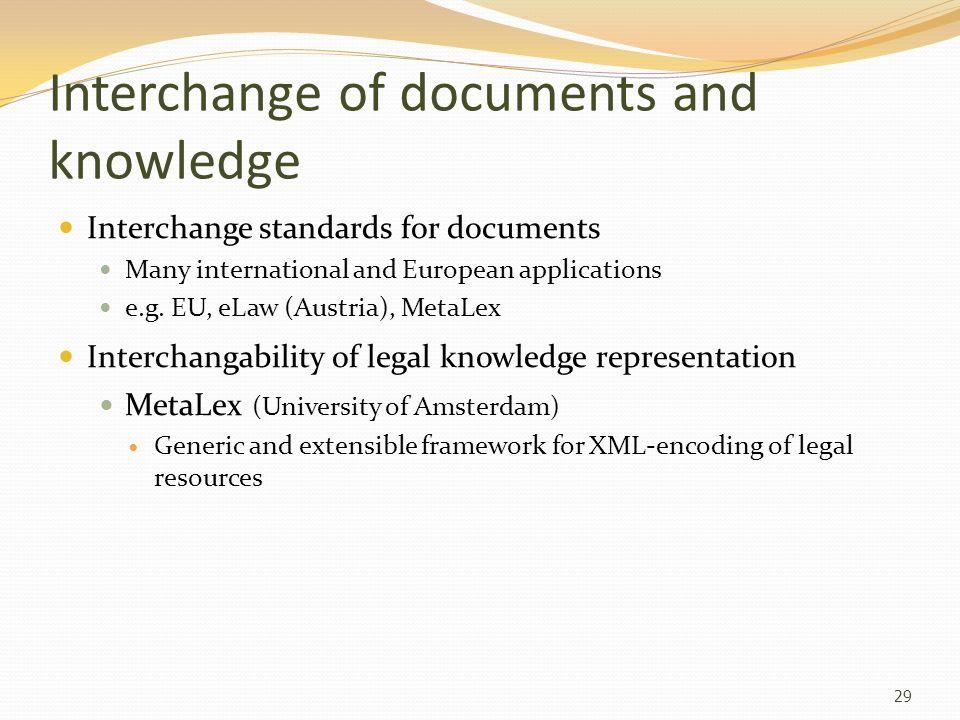 Interchange of documents and knowledge
