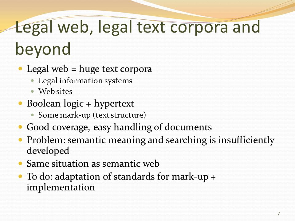 Legal web, legal text corpora and beyond
