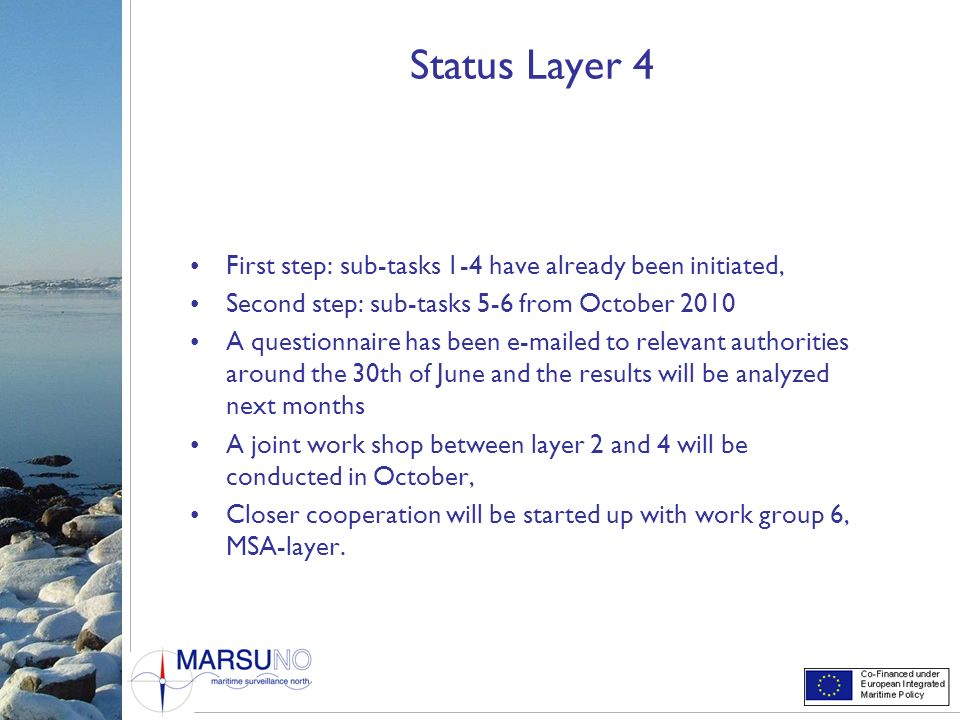 Status Layer 4 First step: sub-tasks 1-4 have already been initiated,