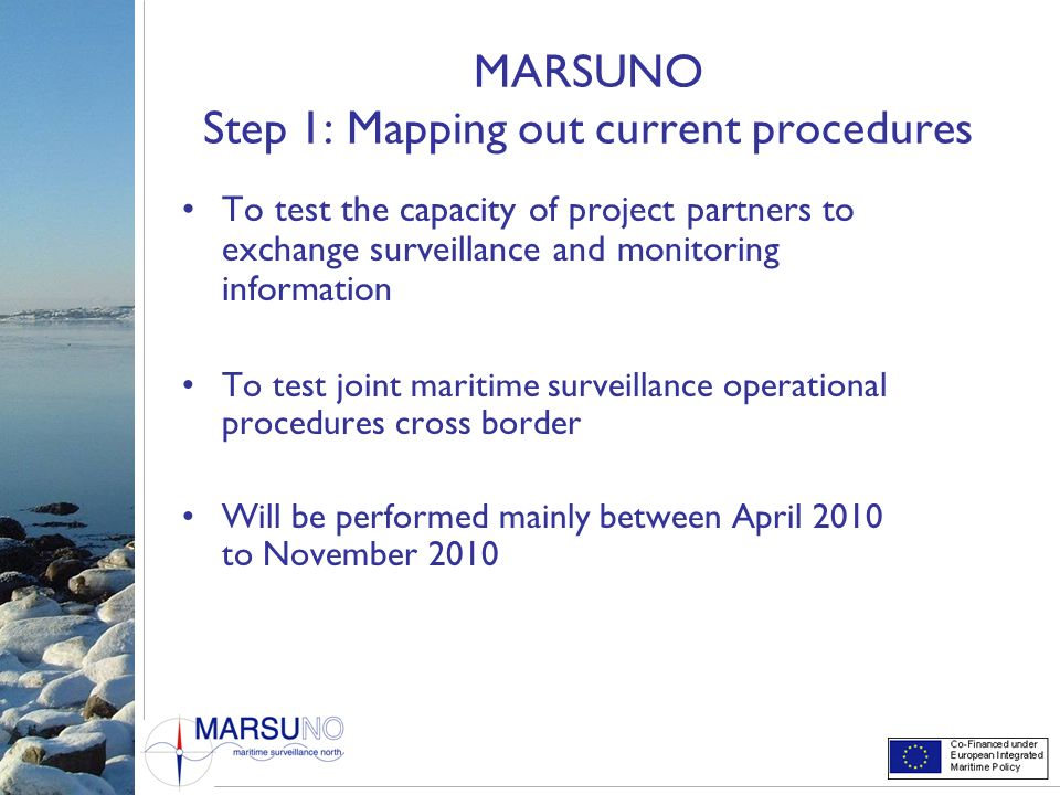 MARSUNO Step 1: Mapping out current procedures