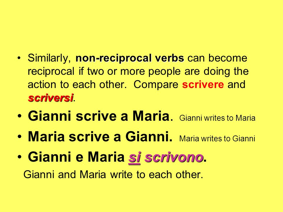 Gianni scrive a Maria. Gianni writes to Maria
