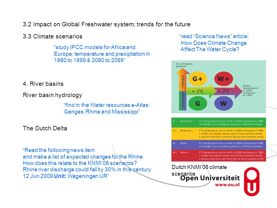 3.2 Impact on Global Freshwater system; trends for the future