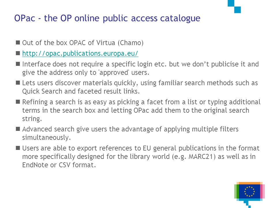 OPac - the OP online public access catalogue