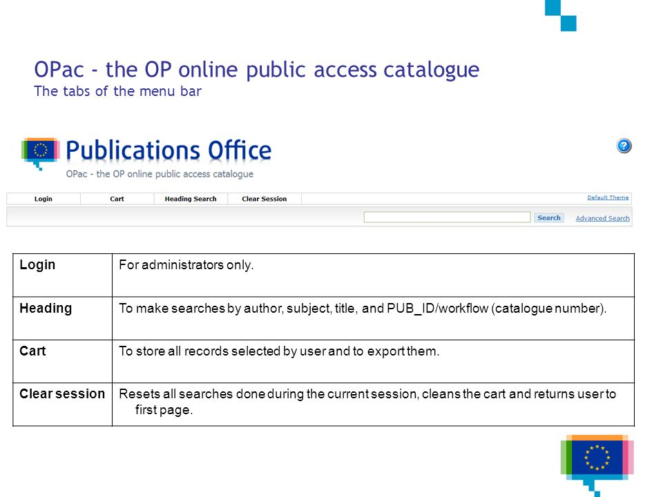 OPac - the OP online public access catalogue The tabs of the menu bar