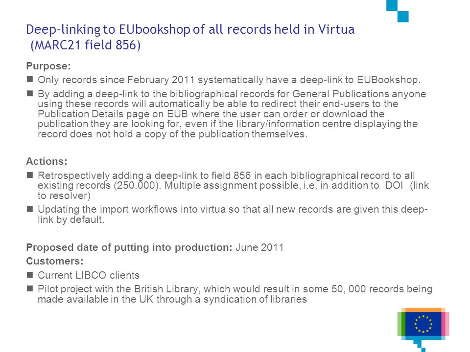 Deep-linking to EUbookshop of all records held in Virtua (MARC21 field 856)