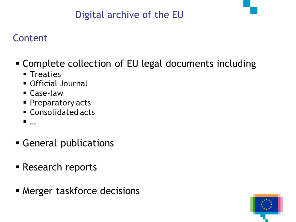 Digital archive of the EU