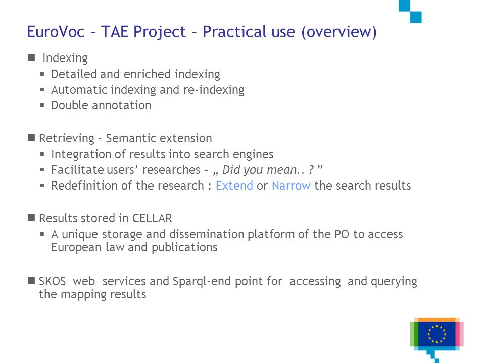 EuroVoc – TAE Project – Practical use (overview)