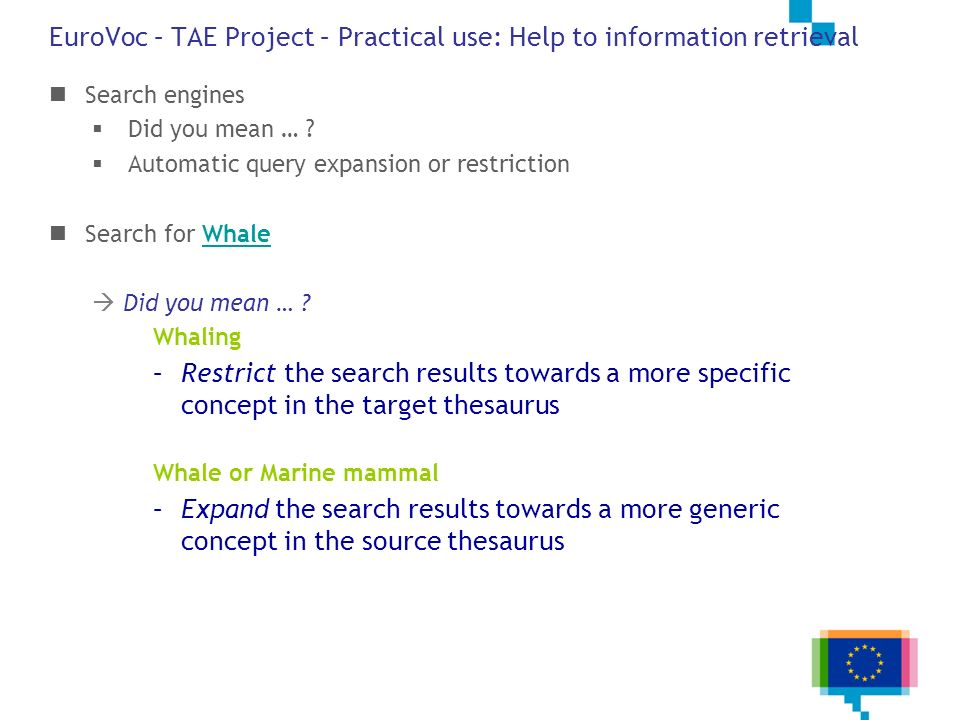 EuroVoc – TAE Project – Practical use: Help to information retrieval