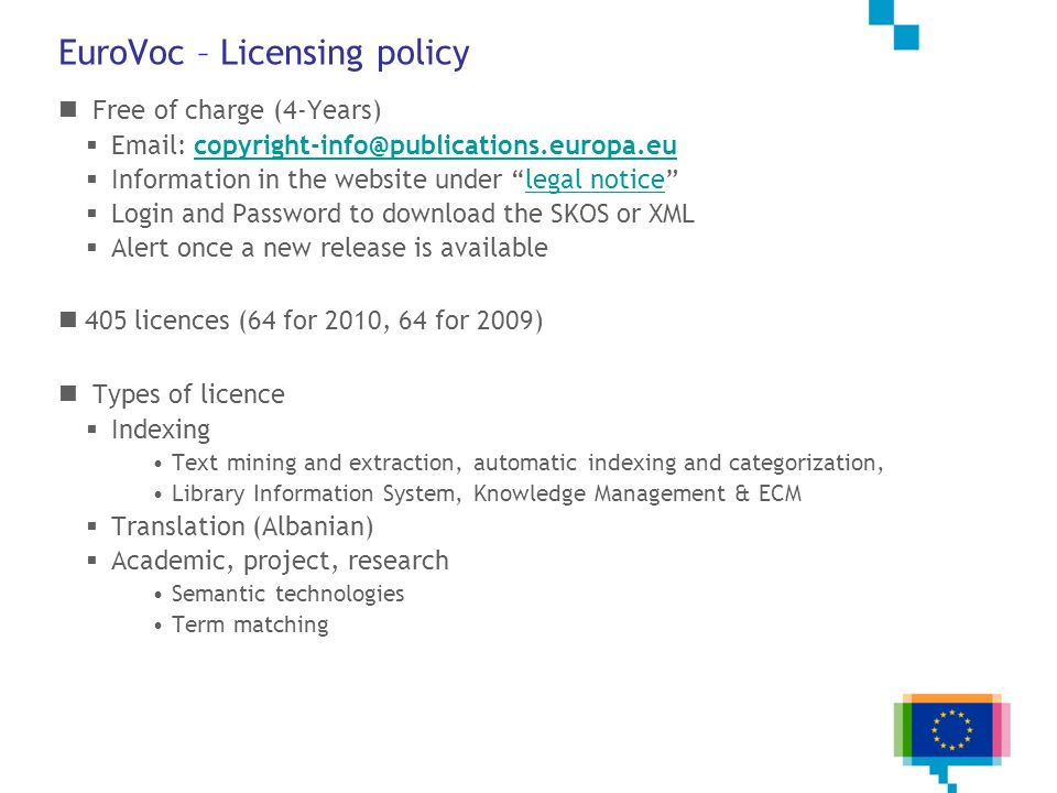 EuroVoc – Licensing policy