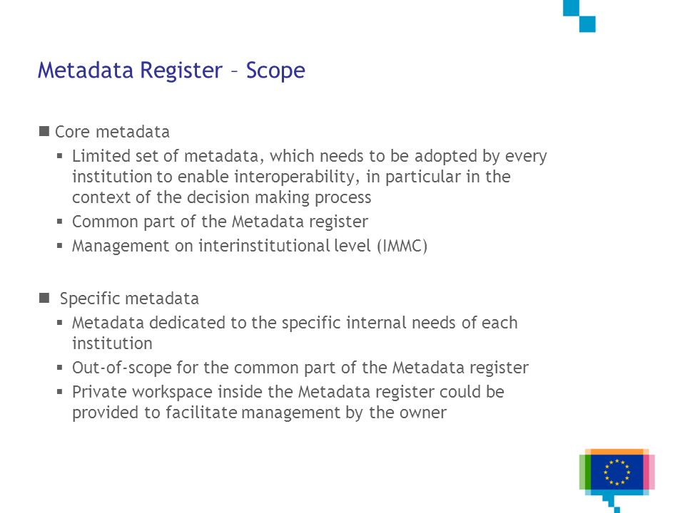 Metadata Register – Scope