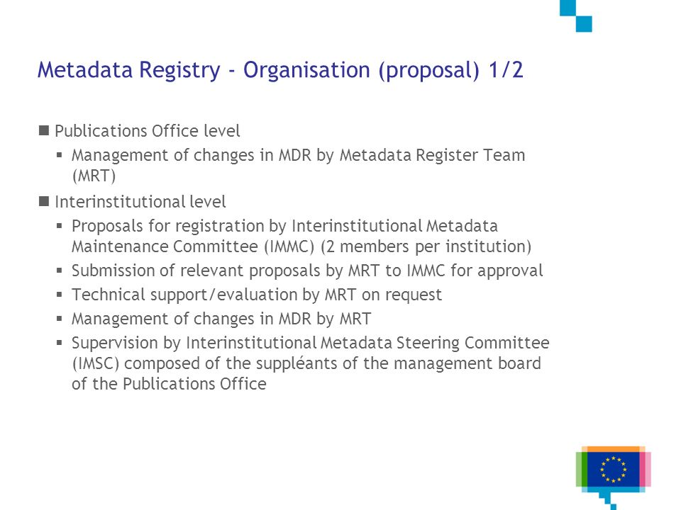 Metadata Registry - Organisation (proposal) 1/2
