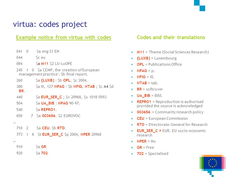 Example notice from virtua with codes Codes and their translations