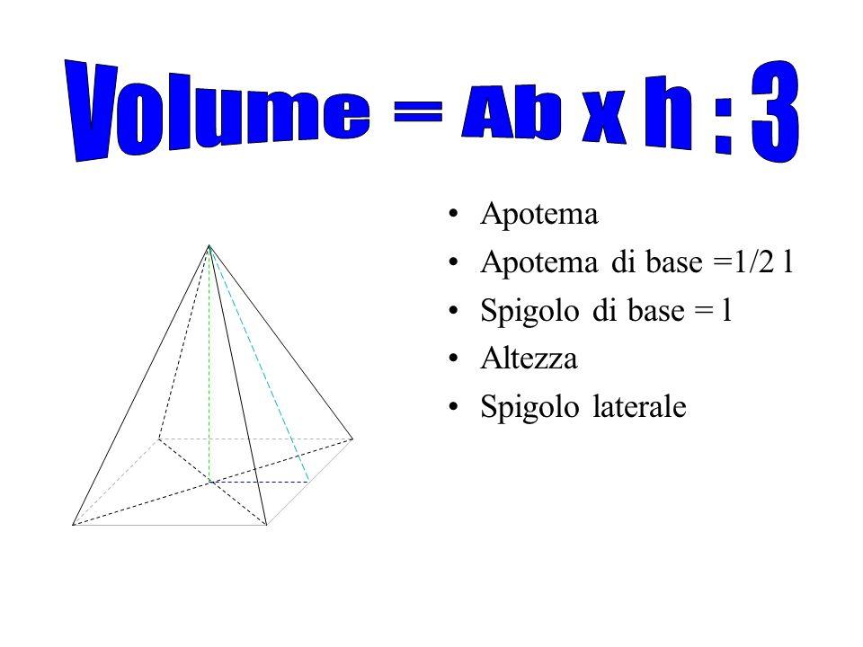 Volume = Ab x h : 3 Apotema Apotema di base =1/2 l Spigolo di base = l