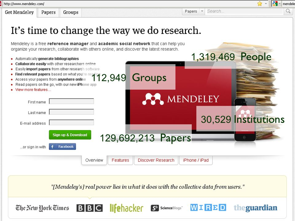 Mendeley 1,319,469 People 112,949 Groups 30,529 Institutions